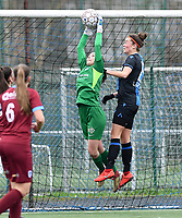 20200208 – BRUGGE, BELGIUM : Genk's goalkeeper Josephine Delvaux pictured saving the attempt in front of heading Club Brugge's Charlotte Laridon during a women soccer game between Dames Club Brugge and KRC Genk Ladies on the 15 th matchday of the Belgian Superleague season 2019-2020 , the Belgian women's football  top division , saturday 08 th February 2020 at the Jan Breydelstadium – terrain 4  in Brugge  , Belgium  .  PHOTO SPORTPIX.BE | DAVID CATRY