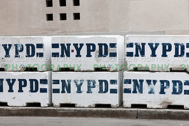 NYPD concrete barrier blocks on a street near the World Trade Center construction site.