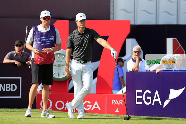 Lucas Bjerregaard (DEN) on the 17th tee during Round 4 of the Omega Dubai Desert Classic, Emirates Golf Club, Dubai,  United Arab Emirates. 27/01/2019<br /> Picture: Golffile | Thos Caffrey<br /> <br /> <br /> All photo usage must carry mandatory copyright credit (&copy; Golffile | Thos Caffrey)