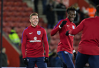 Alfie Mawson (left) (Swansea City) of England during the Under 21 International Friendly match between England and Italy at St Mary's Stadium, Southampton, England on 10 November 2016. Photo by Andy Rowland.