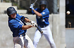 Wildcats' Bradley Lewis hits a one-run sacrafice fly in a college baseball game against College of Southern Nevada  at Western Nevada College in Carson City, Nev., on Friday, March 27, 2015. <br /> Photo by Cathleen Allison/Nevada Photo Source