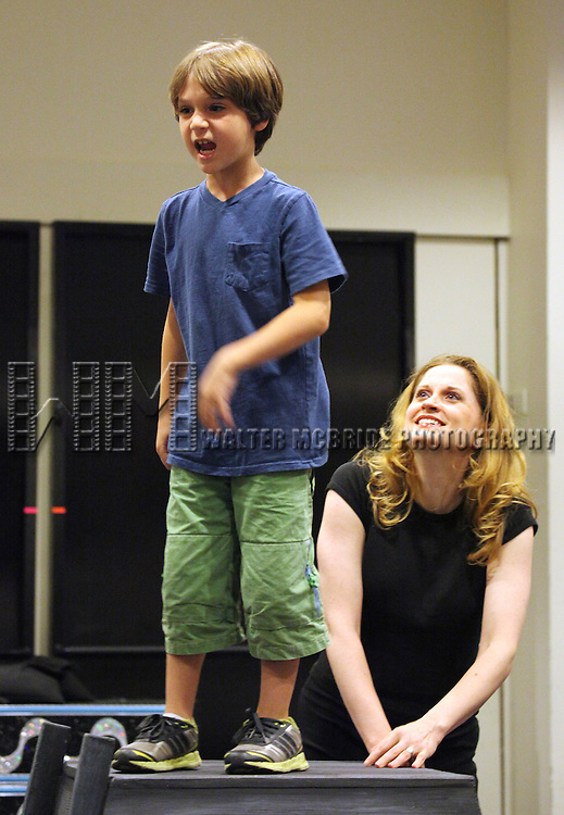 Zachary Unger & Christiane Noll.performing in the Press Preview of the New Broadway Show 'Chaplin The Musical'  at Foxwoods Theater Rehearsal Studios on August 7, 2012 in New York City.