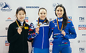 2nd February 2019, Dresden, Saxony, Germany; World Short Track Speed Skating; final, 1000 meters women's race in the EnergieVerbund Arena : Winner Sofia Proswirnowa (M) from Russia of the awards ceremony next to Hyun Choi from South Korea and Cynthia Mascitto from Italy.