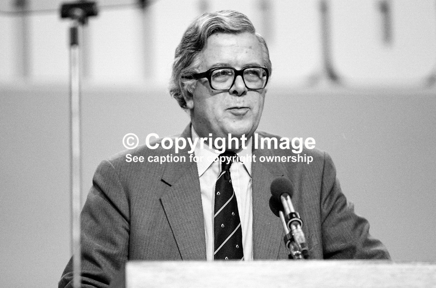 Sir Geoffrey Howe, MP, Deputy Prime Minister, Conservative Party, UK, on platform during his party's 1984 annual conference, Brighton, the year the adjacent Grand Hotel, was bombed by the Provisional IRA. The Grand Hotel was where most cabinet members and senior party officials were staying. 19840141GH2.<br />