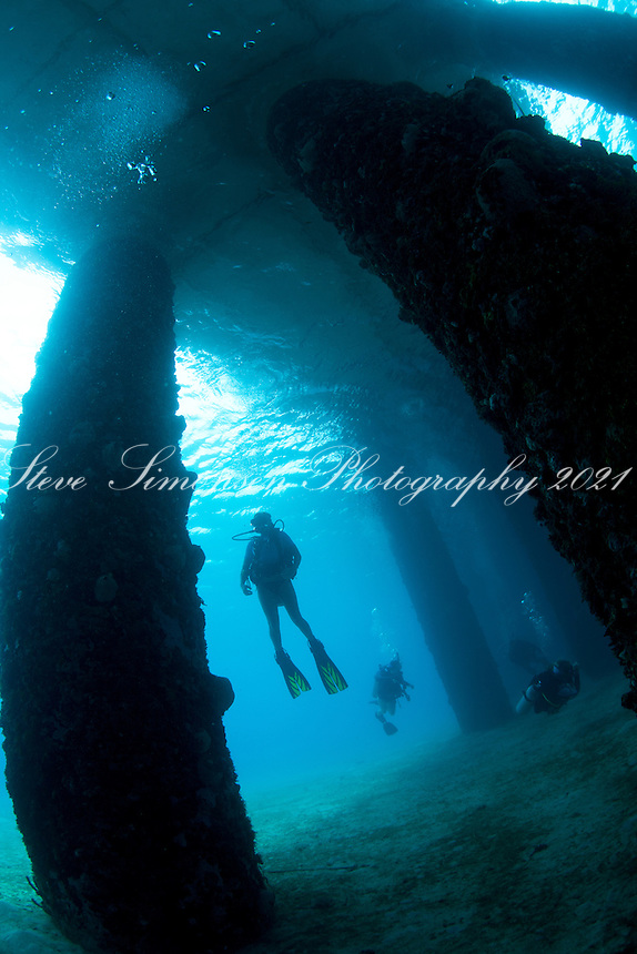Heather diving the Frederiksted Pier<br /> St. Croix<br /> U.S. Virgin Islands