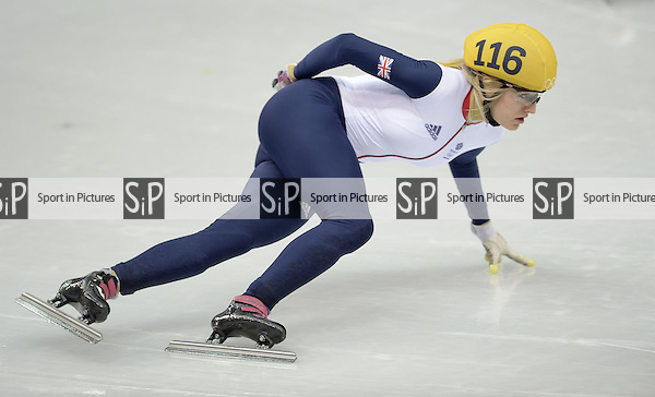 Ellise Christie (GBR). Womens 1000m - Short track skating - Iceberg skating Palace - Olympic Park - PHOTO: Mandatory by-line: Garry Bowden/SIPPA/Pinnacle - Photo Agency UK Tel: +44(0)1363 881025 - Mobile:0797 1270 681 - VAT Reg No: 768 6958 48 - 210214 - 2014 SOCHI WINTER OLYMPICS - Olympic park, Sochii, Russia