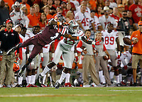Ohio State Buckeyes cornerback Eli Apple (13) knocks the pass away from Virginia Tech Hokies wide receiver Isaiah Ford (1) during the NCAA football game against Virginia Tech at Lane Stadium in Blacksburg, Virginia on Sept. 7, 2015. Ohio State won 42-24. (Adam Cairns / The Columbus Dispatch)