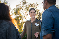 Occidental College student Emma Huang '16 shares her InternLA experience working at Executive Service Corps of Southern California during the Career Development Center's Reverse Career Fair, Thorne Hall patio, Sept. 3, 2015.<br /> (Photo by Marc Campos, Occidental College Photographer)