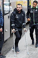 Leon Britton of Swansea City arrives prior to the game during the Sky Bet Championship match between Barnsley and Swansea City at Oakwell Stadium, Barnsley, England, UK. Saturday 19 October 2019