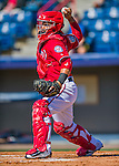 28 February 2016: Washington Nationals catcher Jhonatan Solano warms up prior to an inter-squad pre-season Spring Training game at Space Coast Stadium in Viera, Florida. Mandatory Credit: Ed Wolfstein Photo *** RAW (NEF) Image File Available ***