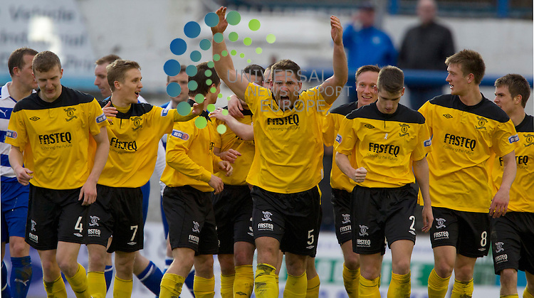 Craig Barr scores the thirrd goal for Livingston during the Irn Bru SPL Division One Morton v Livingston FC at Cappielow Park, Grennock..Picture: Maurice McDonald/Universal News And Sport (Scotland). 10 March 2012. www.unpixs.com..