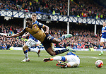 Danny Welbeck of Arsenalgoes down after a tackle by Ramiro Funes Mori of Everton during the Barclays Premier League match at The Goodison Park Stadium. Photo credit should read: Simon Bellis/Sportimage