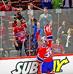 7 December 2009: Montreal Canadiens' goaltender Carey Price gives his stick to a fan after a game against the Philadelphia Flyers at the Bell Centre in Montreal, Quebec, Canada. The Canadiens defeated the Flyers 3-1. Mandatory Credit: Ed Wolfstein Photo