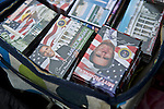 Memorabilia from the 2012 election sits in boxes on the table of a street vendor near the White House on Nov. 7, 2012 in Washington, D.C.