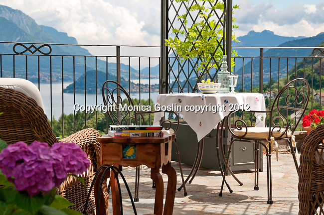 Terrace and a view of Bellagio on Lake Como, Italy