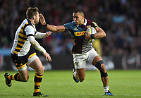 Joe Marchant of Harlequins looks to fend Elliot Daly of Wasps. Aviva Premiership match, between Harlequins and Wasps on April 28, 2017 at the Twickenham Stoop in London, England. Photo by: Patrick Khachfe / JMP