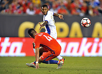 Philadelphia, PA - Tuesday June 14, 2016: Mauricio Isla, Alberto Quintero prior to a Copa America Centenario Group D match between Chile (CHI) and Panama (PAN) at Lincoln Financial Field.