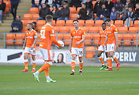 Blackpool players look dejected after Gillingham take the lead<br /> <br /> Photographer Kevin Barnes/CameraSport<br /> <br /> The EFL Sky Bet League One - Blackpool v Gillingham - Saturday 4th May 2019 - Bloomfield Road - Blackpool<br /> <br /> World Copyright © 2019 CameraSport. All rights reserved. 43 Linden Ave. Countesthorpe. Leicester. England. LE8 5PG - Tel: +44 (0) 116 277 4147 - admin@camerasport.com - www.camerasport.com