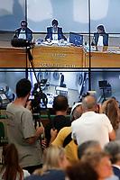 Gli schermi da cui hanno deposto gli imputati al 41bis e la stampa<br /> Roma 20-07-2015 Aula Bunker di Rebibbia. Sentenza in primo grado del processo 'Mafia Capitale'.<br /> Rome July 20th. Bunker Hall of Rebibbia penitentiary. First grade sentence for the process, 'Mafia Capitale'.<br /> Photo Samantha Zucchi Insidefoto