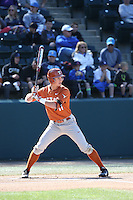 Travis Jones (11) of the Texas Longhorns bats against the UCLA Bruins at Jackie Robinson Stadium on March 12, 2016 in Los Angeles, California. UCLA defeated Texas, 5-4. (Larry Goren/Four Seam Images)