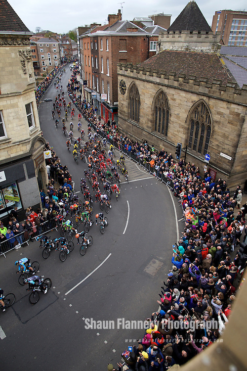 Pix: Shaun Flannery/SWpix.com<br /> <br /> 2nd May 2015<br /> 2015 Tour de Yorkshire<br /> Day 2 - Selby to York.<br /> The peloton makes its way through York City Centre.