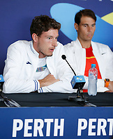 2nd January 2020; RAC Arena , Perth, Western Australia, Australia; ATP Cup Team Press conferences, Spain; Carreno Busta of Spain speaks to the press  during the team press conferences - Editorial Use