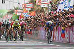 Elia Viviani (ITA) Quick-Step Floors wins Stage 2 of the 101st edition of the Giro d'Italia 2018 running 167km from Haifa to Tel Aviv, Israel. 5th May 2018.<br /> Picture: LaPresse/Fabio Ferrari | Cyclefile<br /> <br /> <br /> All photos usage must carry mandatory copyright credit (&copy; Cyclefile | LaPresse/Fabio Ferrari)