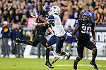 West Virginia Mountaineers wide receiver Shelton Gibson (1) in action during the game between the  West Virginia and the TCU Horned Frogs at the Amon G. Carter Stadium in Fort Worth, Texas.