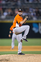 Norfolk Tides relief pitcher Pat McCoy (46) in action against the Charlotte Knights at BB&T BallPark on April 9, 2015 in Charlotte, North Carolina.  The Knights defeated the Tides 6-3.   (Brian Westerholt/Four Seam Images)