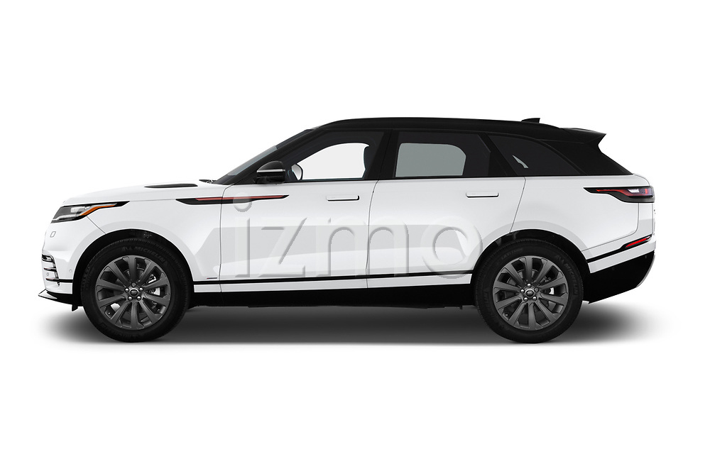 Car driver side profile view of a 2018 Land Rover Range Rover Velar R-Dynamic SE 5 Door SUV