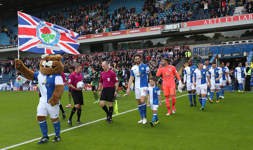 Blackburn Rovers come onto the pitch<br /> <br /> Photographer Rachel Holborn/CameraSport<br /> <br /> The EFL Sky Bet League One - Blackburn Rovers v Doncaster Rovers - Saturday August 12th 2017 - Ewood Park - Blackburn<br /> <br /> World Copyright &copy; 2017 CameraSport. All rights reserved. 43 Linden Ave. Countesthorpe. Leicester. England. LE8 5PG - Tel: +44 (0) 116 277 4147 - admin@camerasport.com - www.camerasport.com