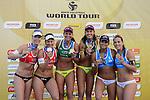 31.05.2015, Moskau, Vodny Stadion<br /> Moskau Grand Slam, Siegerehrung<br /> <br /> 2. Platz / Silber / Silbermedaille: Madelein Meppelink / Marleen van Iersel (NED), 1. Platz / Gold / Goldmedaille: Larissa Franca / Talita Antunes (BRA), 3. Platz / Bronze / Bronzemedaille: Marta Menegatti / Viktoria Orsi Toth (ITA)<br /> <br />   Foto &copy; nordphoto / Kurth