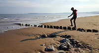 Pictured: Twelve year old Nikolas Ioan in Swansea Bay in the early evening of Saturday 07 May 2016<br /> Re: Sunshine and high temperatures have been forecast for most of the UK.