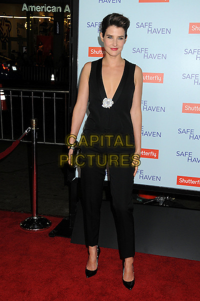 """Cobie Smulders.""""Safe Haven"""" Los Angeles Premiere held at the TCL Chinese Theatre, Hollywood, California, USA..February 5th, 2013.full length jumpsuit  clutch bag black sleeveless low cut plunging neckline silver brooch flower diamond .CAP/ADM/BP.©Byron Purvis/AdMedia/Capital Pictures."""