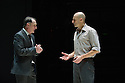 London, UK. 08.04.2014. A VIEW FROM THE BRIDGE, by Arthur Miller, opens at the Young Vic. Directed by Ivo Van Hove, design and light by Jan Versweyveld and costumes by An D'Huys. Picture shows: Michael Gould (Alfieri) and Mark Strong (Eddie). Photograph © Jane Hobson.