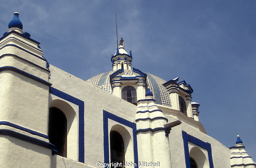 Talavera tiled dome of a Spanish colonial church in the city of Puebla, Mexico