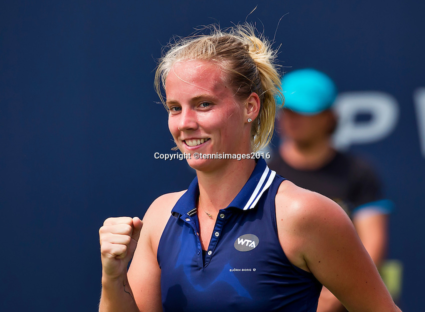 Den Bosch, Netherlands, 07 June, 2016, Tennis, Ricoh Open, Richel Hogenkamp (NED)  celebrates match point during her match against Hozumi (JPN)<br /> Photo: Henk Koster/tennisimages.com