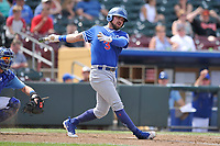 Oklahoma City Dodgers second baseman Jake Peter (3) swings at a pitch against the Omaha Storm Chasers at Werner Park on June 24, 2018 in Omaha, Nebraska. Omaha won 8-0.  (Dennis Hubbard/Four Seam Images)