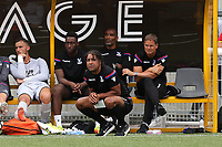 Crystal Palace U23 Coach, Richard Shaw crouches down as Crystal Palace Manager, Frank De Boer looks on during Maidstone United  vs Crystal Palace, Friendly Match Football at the Gallagher Stadium on 15th July 2017