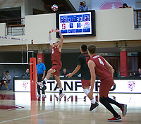 STANFORD, CA - December 30, 2017: Russell Dervay, Evan Enriques, Eric Beatty at Burnham Pavilion. The Stanford Cardinal defeated the Calgary Dinos 3-1.
