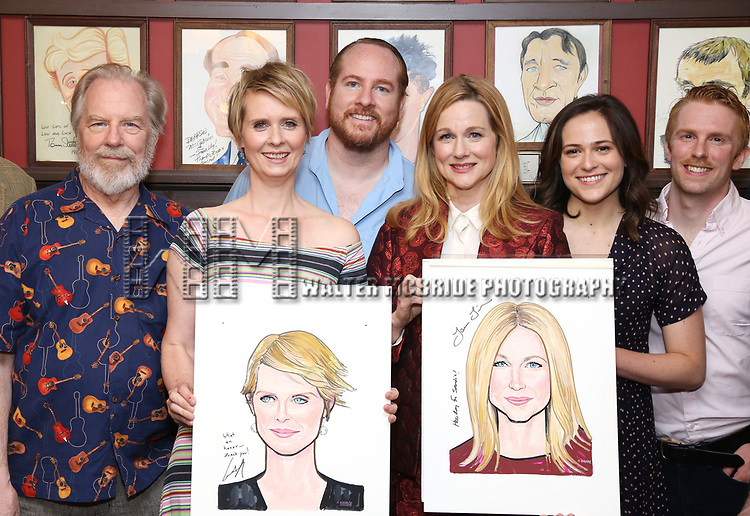 Michael McKean, Cynthia Nixon, Laura Linney, Francesca Carpanini and Michael Benz attends the portrait unveilings of Laura Linney and Cynthia Nixon starring on Broadway in the Manhattan Theatre Club's THE LITTLE FOXES, at Sardi's on June 29, 2017 in New York City.