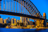 Sydney Harbour Bridge with McMahon Point in North Sydney behind, Sydney, New South Wales, Australia