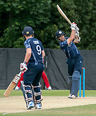 Cricket Scotland - Scotland V Zimbabwe One Day International match at Grange CC today (Thur) - this match is the second of two ODI matches this week against Zimbabwe, and Scotland won the first encounter, on Thursday, by 26 runs - Scotland capt Kyle Coetzer hits out, here batting with Matthew Cross - picture by Donald MacLeod - 17.06.2017 - 07702 319 738 - clanmacleod@btinternet.com - www.donald-macleod.com