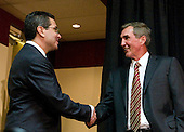 Ashburn, VA - January 6, 2010 -- Washington Redskins owner Daniel Snyder, left, shakes hands with Mike Shanahan, right, new head coach of the Washington Redskins prior to a press conference at Redskins Park in Ashburn Virginia on Wednesday, January 6, 2010.  Previously, Shanahan was head coach of the Denver Broncos. .Credit: Ron Sachs / CNP