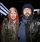 Lucas Steele and Josh Groban attend The Ghostlight Project to light a light and make a pledge to stand for and protect the values of inclusion, participation, and compassion for everyone - regardless of race, class, religion, country of origin, immigration status, (dis)ability, gender identity, or sexual orientation at The TKTS Stairs on January 19, 2017 in New York City.