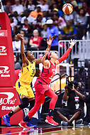 Washington, DC - August 17, 2018: Los Angeles Sparks forward Nneka Ogwumike (30) and Washington Mystics forward Aerial Powers (23) fight for a loose ball during game between the Washington Mystics and Los Angeles Sparks at the Capital One Arena in Washington, DC. (Photo by Phil Peters/Media Images International)