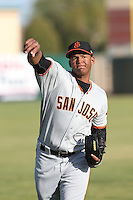 Keury Mella (34) of the San Jose Giants warms up before pitching during a game against the Lancaster JetHawks at The Hanger on April 11, 2015 in Lancaster, California. San Jose defeated Lancaster, 8-3. (Larry Goren/Four Seam Images)