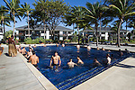 Maori All Blacks Tour of Fiji. Swim after the flight. Hilton Hotel, Fiji. July 8 2015. Photo: Marc Weakley