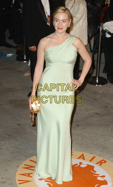 KATE WINSLET.The 2007 Vanity Fair Oscar Party Hosted by Graydon Carter held at Morton's, West Hollywood, California, USA, 25 February 2007..oscars full length pale green mint Valentino one shoudler strap dress hand on hip.CAP/ADM/GB.©Gary Boas/AdMedia/Capital Pictures.