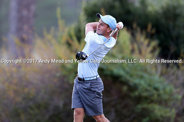 CHAPEL HILL, NC - OCTOBER 07: UNC's William Register on the 2nd tee. The first round of the Tar Heel Intercollegiate Men's Golf Tournament was held on October 7, 2017, at the UNC Finley Golf Course in Chapel Hill, NC.